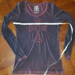 Velvet Stone Long Sleeve Cross Shirt Large